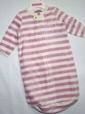 Juicy Couture infant pink & white stripe fleece sleep Sack Blanket sleeper