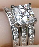 3pcs princess simulated diamond engagement ring wedding 925 silver women jewelry