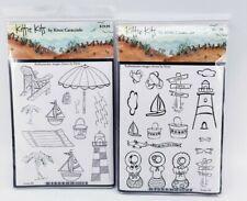 Kittie Kits Beach Stamp Set of 2: Umbrella Palm Tree Lighthouse Sailboat New