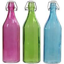Set Of 3 1050ml Coloured Glass Clip Top Bottles For Water Oil Vinegar Display