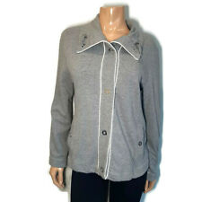 Jones New York Snap Button Knit Jacket Womens L XL (?) Gray White Piped Collared