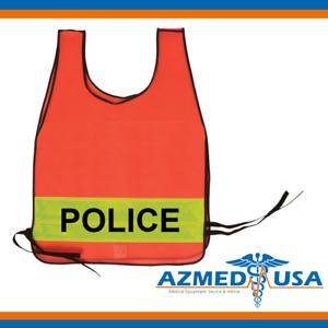 Police / Fire / Sheriff - Emergency Orange Vest w/ Yellow Reflective Stripe
