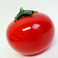 "Vintage Retro Murano Style Tomato Studio Art Glass Hand Blown Fruit Vegetable 3"""