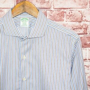 Brooks Brothers MILANO fit Button up Dress Shirt Blue Brown Striped Sz 16 36