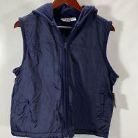 MTA Pro Fleece Lined Full Zip Vest Jacket Hooded Blue Nylon Size L Large NEW