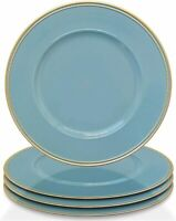 """Elle Decor Round PP 13"""" Charger Plate Event Wedding, Blue / Gold, SET OF 4"""