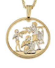 """Egyptian Pendant & Necklace Egyptian Coin Hand Cut 3/4"""" in Diameter ( # 90 )"""