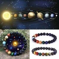 Eight Planets Beads Men's Natural Stone Bracelet Universe Yoga Chakra Solar Gift