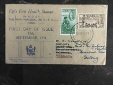 1951 Fiji FDC first day cover Health Stamps War Memorial To Australia