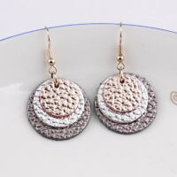 First layer cowhide 3 Layered Round Genuine Leather Earrings Women Jewelry