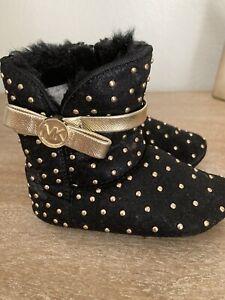 Michael Kors Baby Grace Tiff Black Gold Fur Stud Boots  Size 4