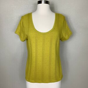 New Madewell Olive Green Pointelle Ribbed Tee Top Size Large L Short Sleeve