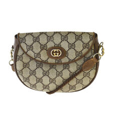 Authentic GUCCI GG Pattern Mini Shoulder Bag PVC Leather Brown Italy 36MH303