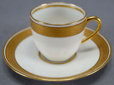 Pair of Ahrenfeldt Limoges JE Caldwell Gold Encrusted Demitasse Cups & Saucers