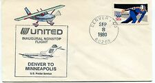 FFC 1980 First Flight United Denver to Minneapolis US Postal Service Non Stop