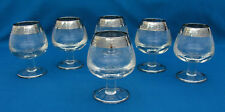 "(6) VINTAGE 4.5"" BRANDY COGNAC SNIFTERS GLASSES SILVER BAND RIM & SCROLL ETCHING"