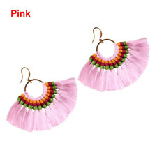 1pc Fan Shapebohotassel Hook Drop Dangle EarringsFashion Vintage Ethnic Jewelry Pink