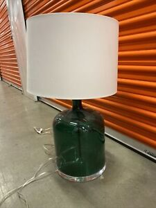 """30"""" Tall ETHAN ALLEN Green Glass NOLAN Table Lamp"""
