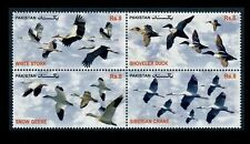 Pakistan 2012 Migratory Birds in Se-Tenant Block of Four Stamps MNH