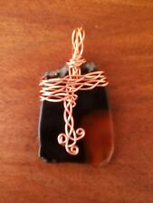 Large Dark Brown Agate geode slice gemstone pendant necklace  non tarnish copper