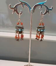 Antique silver with corals and turquoise  earrings 1870-1880 Central Asia