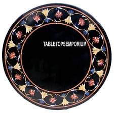 "20"" Black Marble Round Center Table Top Scagliola Inlay Stone Living Room Decor"