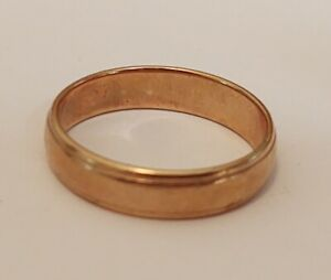 14K Yellow Gold 4mm Ribbed Edged Wedding Band Ring Size 9 ((586))