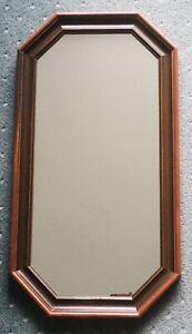 1980 Rare Vintage Octagonal Oblong Mirror Wood Frame Retro 72cm x 39cm x 2.8cm