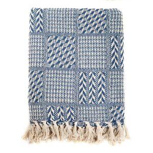 100% Cotton Handloom Herringbone Weave Cotton Throw Blue 125x150cmFREE DELIVERY*