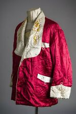 Vtg 50'S Dragon Embroidered Quilted Smoking Red Coat Jacket