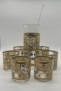 "Vintage ""Old World Map"" 22-Karat Gold Glass Drinks Set of Seven Pieces by Cera"