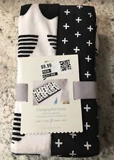 Cloud Island Plush Changing Pad Cover Scallop Black & White ~