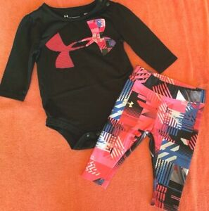 UNDER ARMOUR GIRLS TOP PANTS SET BLACK AND PINK GEOMETRIC 3 6 MONTHS