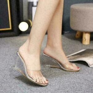 Womens peep Toe Clear Transparent Wedge High Heel Slippers Sandals Slip on Shoes