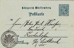 WURTTEMBERG : 2pf OFFICIAL POSTCARD, LANDWIRTSCHAFTL. BERUFSGENOSSEN. (1906)