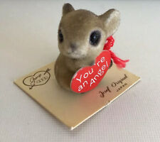 """Vintage Small Flocked Mouse Josef Originals w/Heart """"You're An Angel"""" Sweet Gift"""