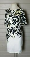 KALEIDOSCOPE White Green Black Stretch Pencil Wiggle Dress 14 Wedding Occasion