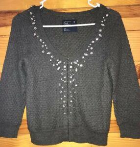 American Eagle Women's Juniors Gray Gem Sweater EUC Size S