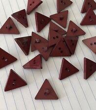6pc Vintage Dark Red Triangle Shank Buttons 21mm D328 AUSSIE SELLER