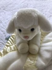 Lamb Baby Security Blanket My Banky Aleigh Lovey Light Yellow Cream Satin Trim