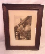 Antique arts and crafts OAK frame with print 11 1/2 x 14 1/2  holds 9x12