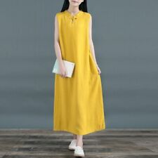 Vintage Women's Chinese Style Stand Collar Cotton Linen Solid Casual Vest Dress