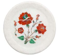 "5"" Marble Plate Wall Plate Marble Hakik Jasper Floral Inlay Home Decor Gifts"