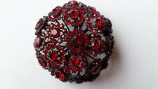 Rare signed Warner huge domed Fireworks pin/brooch in Pigeon blood Red