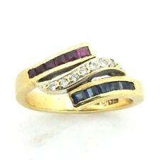 Mujer 18ct Anillo Oro Amarillo Set con rubí, Zafiro & Diamante Tamaño RU o