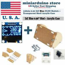 "0.96"" I2C IIC 128X64 OLED LCD LED Blue Color SSD1306 + Transparent Case Arduino"