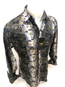 Men PREMIERE Long Sleeve Button Up Dress Shirt SILKY GRAY BLACK GOLD PAISLEY 646