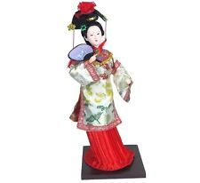 "Elegant Traditional Chinese Doll Figurine Holds Fan Fabric Hand Made 12"" H New"