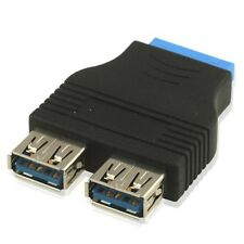 2 x USB 3.0 Tipo A Femmina a 20 Pin Header Adattatore slot