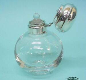 English Sterling Silver Mounted Glass Perfume / Scent Bottle